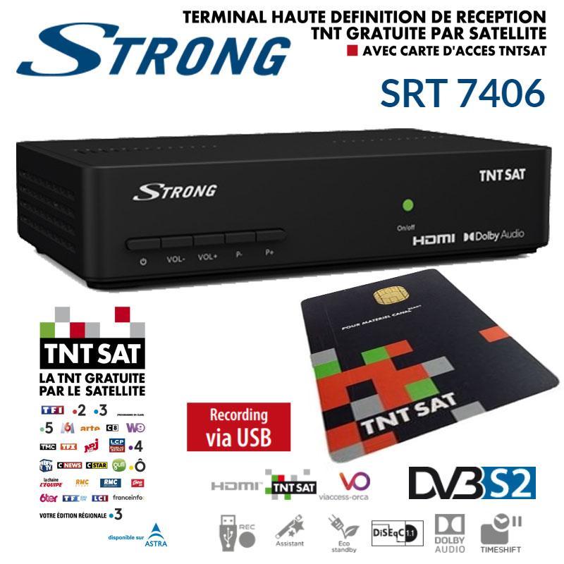 Receptor TNT SAT Strong SRT 7406 +  Tarjeta 4 Años (Astra 19,2)