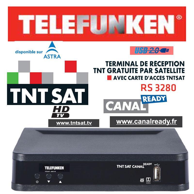 TNT SAT HDTV TELEFUNKEN RS 3280 + TARJETA 4 Años (Astra 19,2) - Récepteur Numérique TNTSAT HD CANAL READY avec carte daccès TNTSAT
