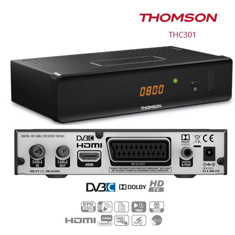 Receptor de TV por Cable Thomson THC301 - El receptor Digital de Cable THC301 permite la recepción en calidad HD a través de la red de cable. Compatible con Euskaltel,Telecable, Mundo R, etc.