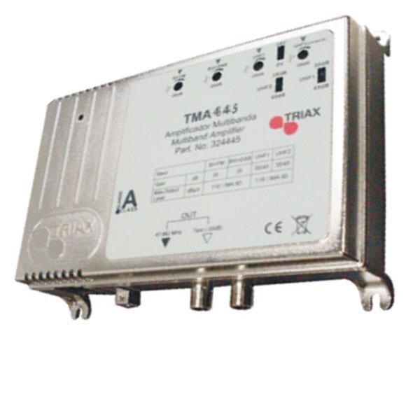 Amplificador TRIAX TMA 445 LTE Multibanda - TMA 445 LTE Central multibanda. Ganancia 45 dB. Distribución de TV y Radio. Compatible con TDT y filtro LTE. Dispone de 5 entradas RF (BI+FM; BIII+DAB; UHF1 y UHF2) y 1 salida con amplificación separada.
