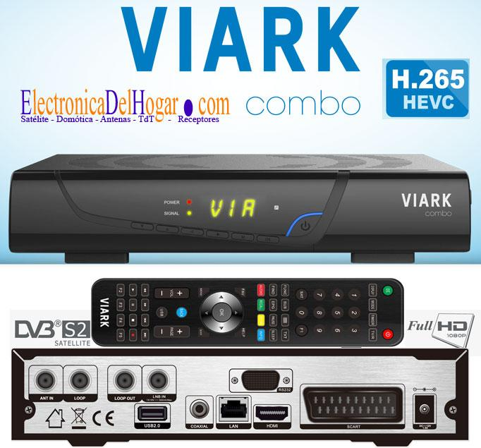 VIARK Combo H265 Receptor Satélite y Tdt HD - Receptor Combo DVB-S2 - DVB-T2 - DVB-C con H.265 HEVC. Digital Satélite HD ETHERNET