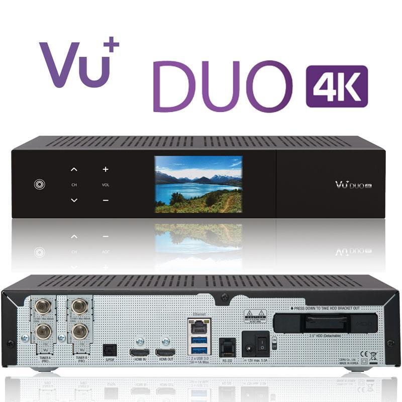 VU+ Duo 4K - En el corazón de la VU + Duo 4K se encuentra un procesador ARM QuadCore de 4x2,100 MHz y 64 bits. Experimenta toda la potencia del 4K en tú televisor Ultra High Definition (UHD) con el decodificador VU + Duo 4K.