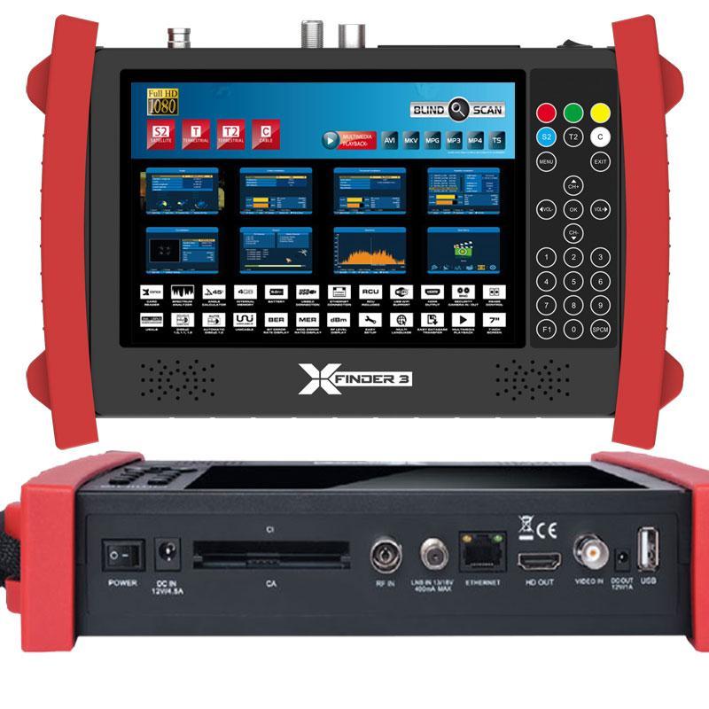 Xfinder 3 Medidor de Campo DVB-S2, T/T2 y C (H.265 HEVC) - XFinder 3 medidor digital con analizador de espectro de señal Satélite, Terrestre y Cable también es un tester para sistemas CCTV. Su reproductor Multimédia con ranura CI, Lector de Tarjetas y conexión ethernet hacen del Xfinder 3, el más completo Medidor Digital del mercado.